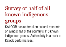 Survey of half of all known indigenous groups KALOOB has undertaken cultural research on almost half of the country's 110 known indigenous groups. Authenticity is a mark of Kaloob performances.
